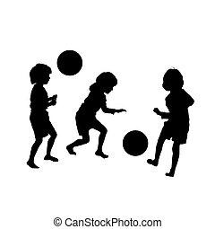 childres, silhouettes, jeu football, vecteur
