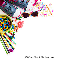 childre's sweets and stuff - white backgrounnd with...