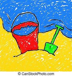 childs, 浜, 図画