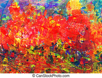 Childs abstract painting - Artwork by a 7-year-old child. ...
