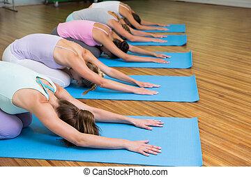 childs, actitud del yoga, estudio, clase salud