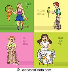 Childs And Pets Decorative Icon Set - Childs and their pets...