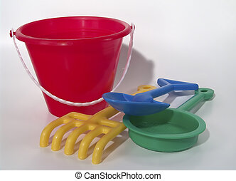 Childs Bucket 2 - Photo of Childs Toy Sand Bucket and Tools