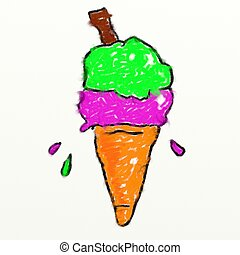 childs style smudgy chalk drawing of an ice cream cone isolated on white textured canvas background