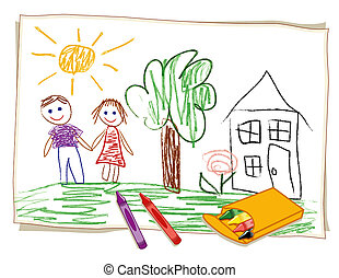 Child's crayon drawing on paper, happy girl and boy, house, lawn, sunny landscape, box of crayons.