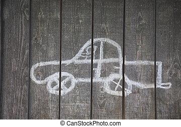 childs, dessin, de, a, voiture