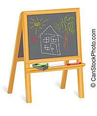 childs, dessins, chevalet, tableau noir