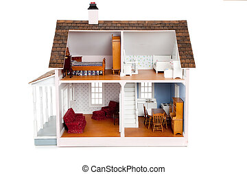 Child\'s doll house with furniture on white