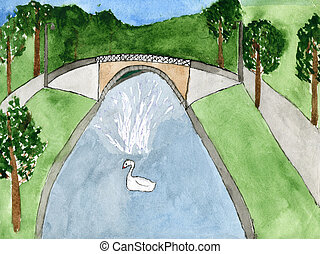Child's drawing a swan and a fountain in the park. Made by ...