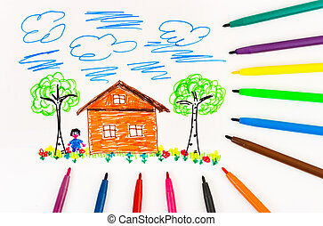 Child's drawing and pens - abstract art background