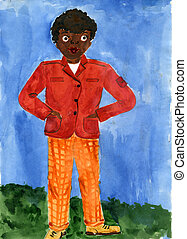 Child's drawing black boy in a red jacket and orange pants. Made by child.