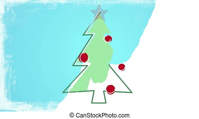 child's drawing christmas tree - child's drawing style...