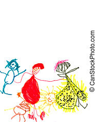 child's drawing - dancing happy family