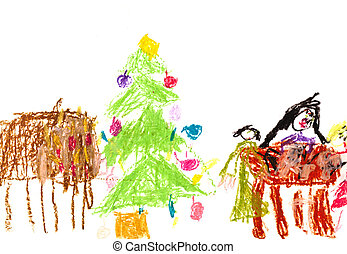child's drawing - family Christmas dinner
