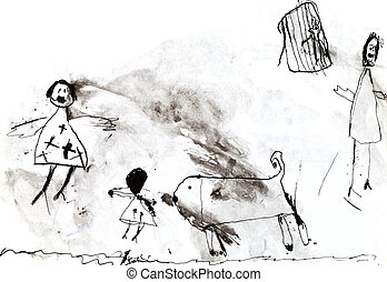 child's drawing - family with dog