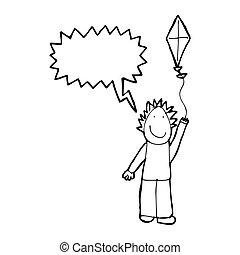 Cartoon boy flying a kite - high quality 3d illustration ...