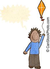 Boy flying a kite, illustration. Boy flying a kite, vector ...