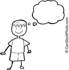 child's drawing of a boy with thought bubble