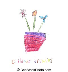 Child's Drawing Of a Flowers