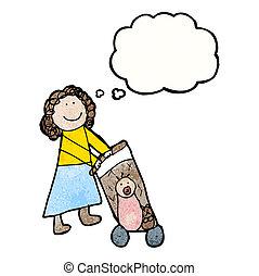 child's drawing of a mom pushing pram