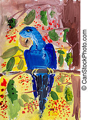 child's drawing of a parrot on a branch