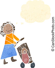 child's drawing of a woman pushing trolley
