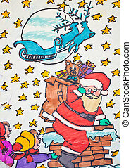 Child's drawing of Santa Claus holding guft bag with children