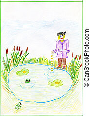 """Child's drawing on the fairy tale by Brothers Grimm """"Profitable"""". Made by child."""