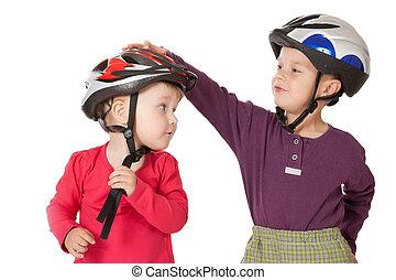 childs, em, capacetes bicicleta