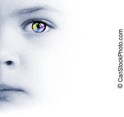 Child's face, colorful eye and map - International...
