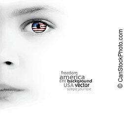 Child's face, eye and american flag
