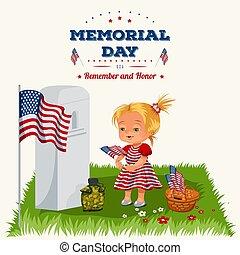 childs, famille, américains, girl, enfants, commémoratif, honorer, jour, mémoire, guerre, héros, cimetière, peu, illustration, tokens, drapeau, fleurs, tombe, vétéran, nous, vecteur, s'étend, militaire, baissé