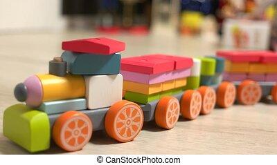 childs, floor., jouet, train bois