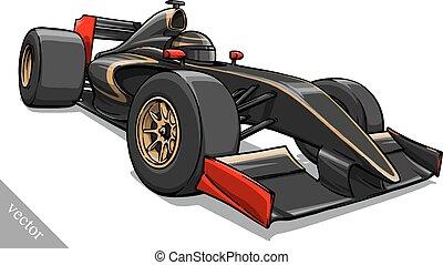 childs funny cartoon formula race car vector illustration art