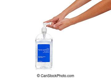 Child\'s hand dispensing hand sanitizer - flu prevention