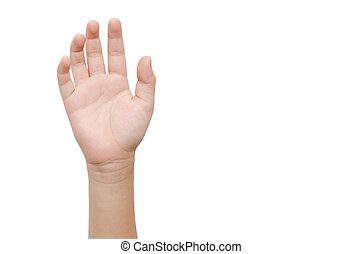 Child's Hand gesture with 5 fingers
