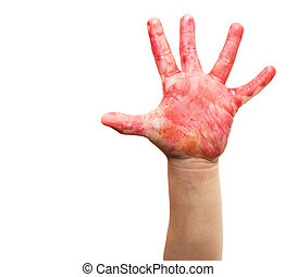 child's hand in red watercolor on white background