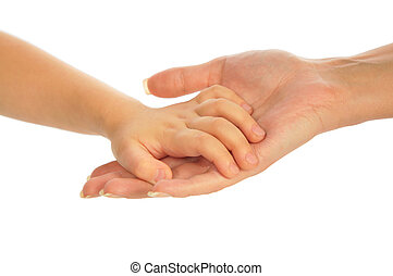 Child`s hand on mother`s hand