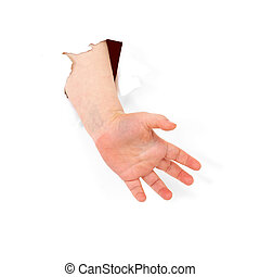 Child's hand stick out from hole in sheet of paper