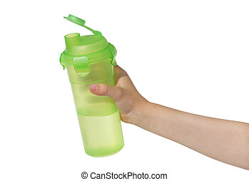 Child's hand with a bottle of water.