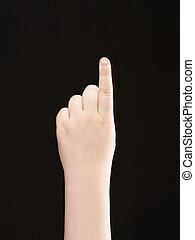Childs hand with index finger pointing