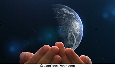 Child's hands hold planet Earth, concept - the world in the hands of children. video loop, Used maps and textures provided by NASA