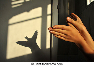 Child's hands making a shadow bird