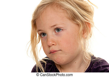 child\'s, head., portret, od, niejaki, mały, girl.