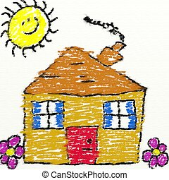childs house - childs style drawing of a house in chalk with...