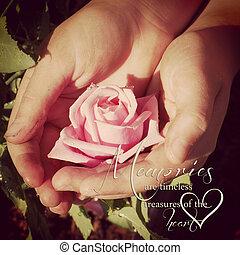 childs, instagram, rosa, mãos, sujo, segurando, citação,...