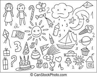 childs, klotter, liv, sätta, objekt