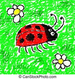 childs ladybug - childs style smudgy chalk drawing of a...