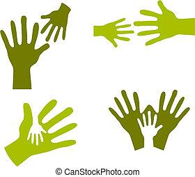 child\'s, mãos, e, adulto passa