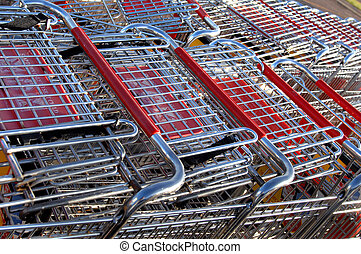 Child's Nightmare - Large group of shopping buggies are...